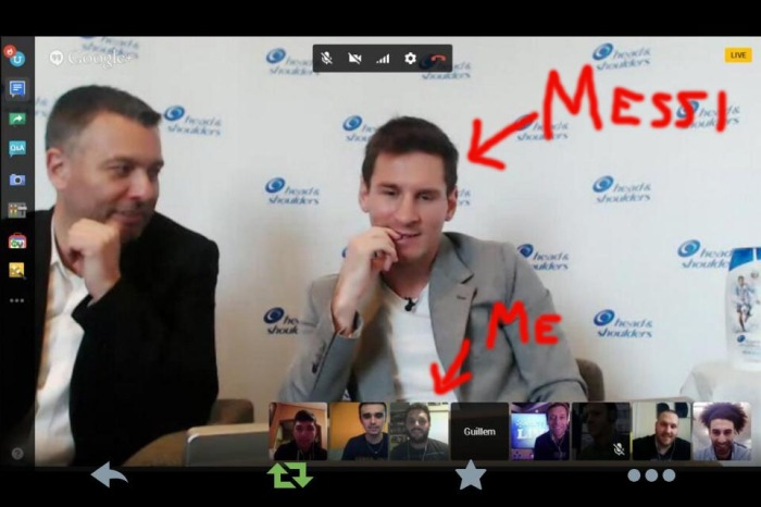 Messi joined our Google Hangout for a few minutes Wednesday morning. All images courtesy of KICKTV